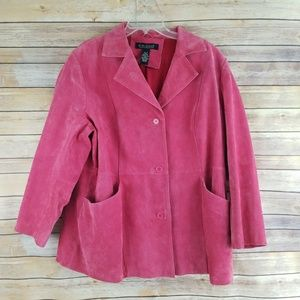 Dialogue Pink Suede Leather Jacket